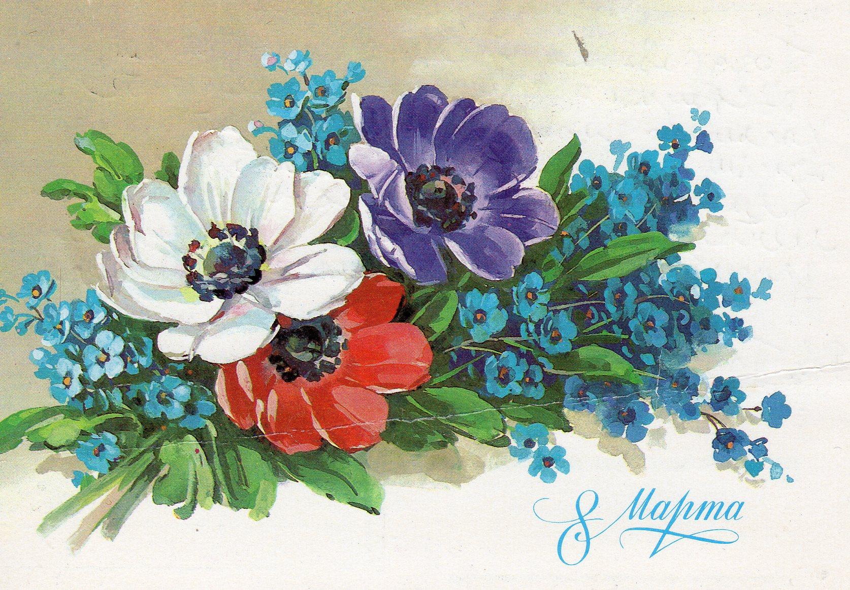 Рисунки цветов открытках