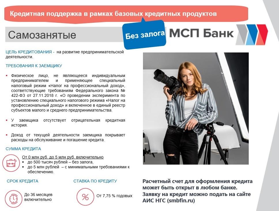 МСП Банк оказывает кредитную поддержку в рамках базовых кредитных продуктов без залога для самозанятых